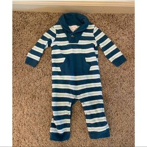 Cat and Jack Blue Striped Onesie with button
